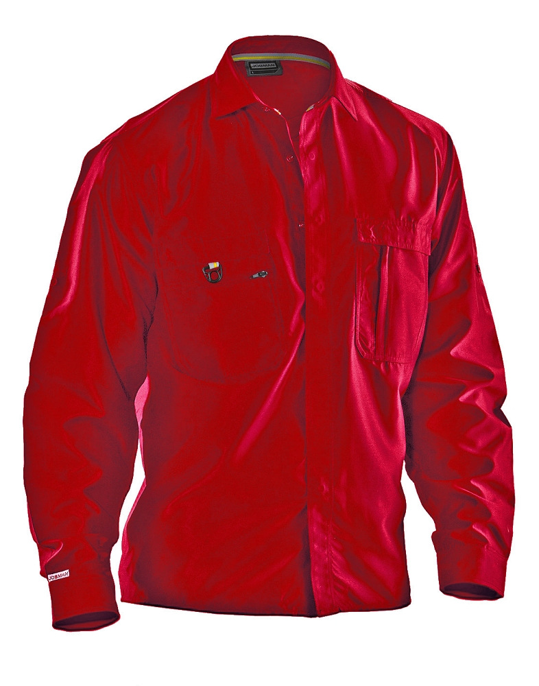 Jobman Cotton Long Sleeved Work Shirt 5601 17 Red Only Discontinued